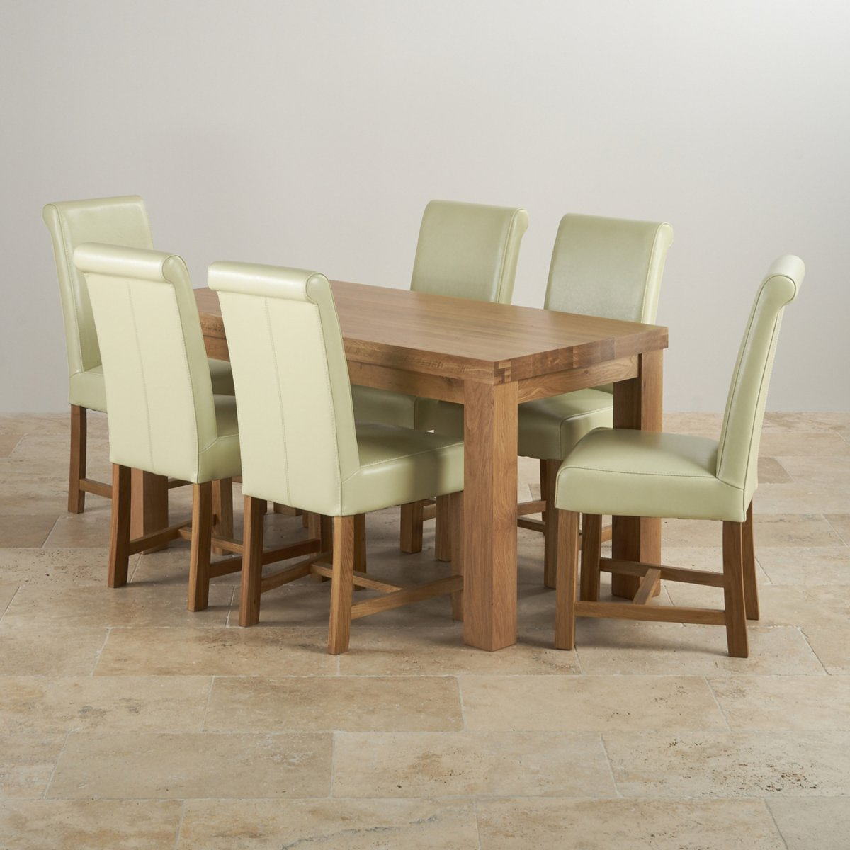 oak dining set 6 chairs rocker gaming chair bluetooth contemporary in table 43 cream leather