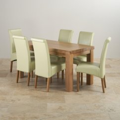 Set Of Dining Chairs Wedding Chair Covers Hire Salisbury Chunky In Oak Table 43 6 Cream Leather