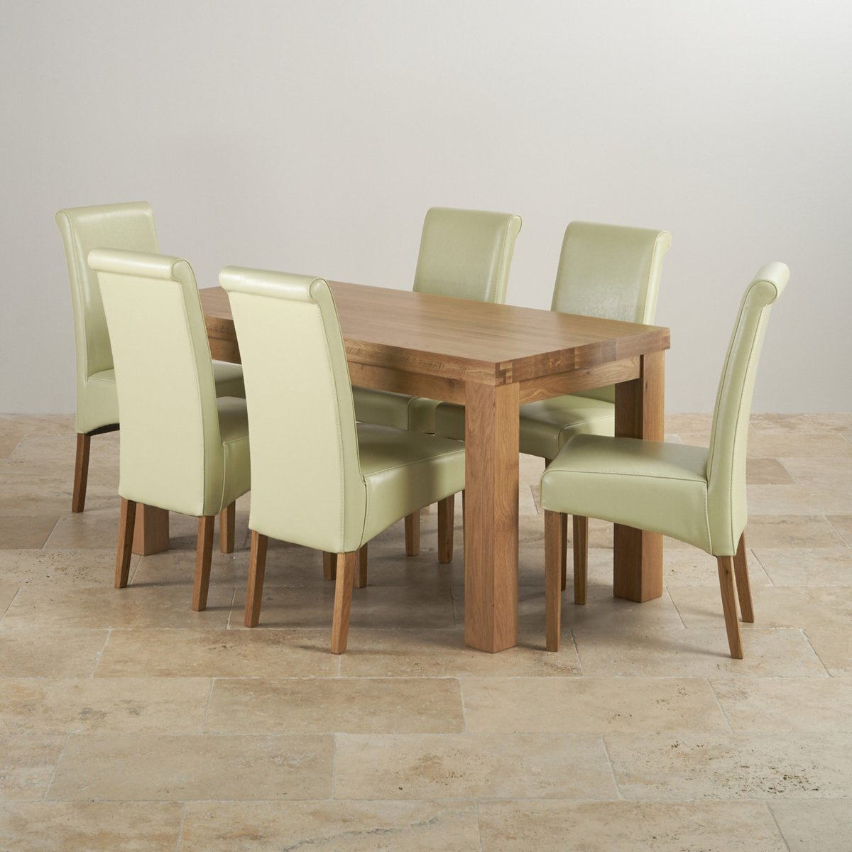 dining table set 6 chairs green velvet chunky in oak 43 cream leather