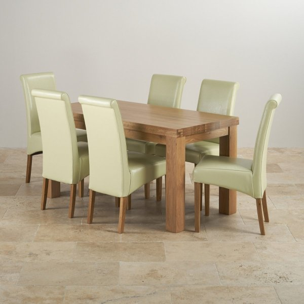 Chunky Dining Set In Oak Table 6 Cream Leather