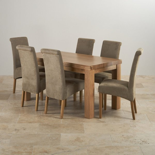 Contemporary 5ft Dining Table In Solid Oak & 6 Scroll