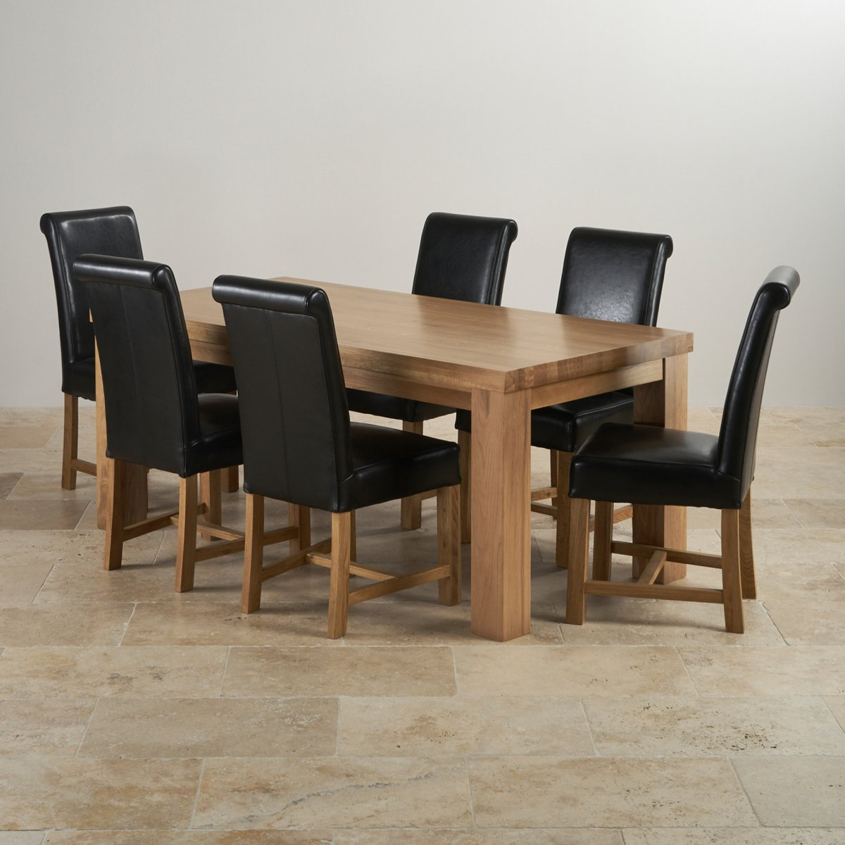 black leather chair dining folding kitty chunky set in oak 3ft 7 quot table 43 6 chairs