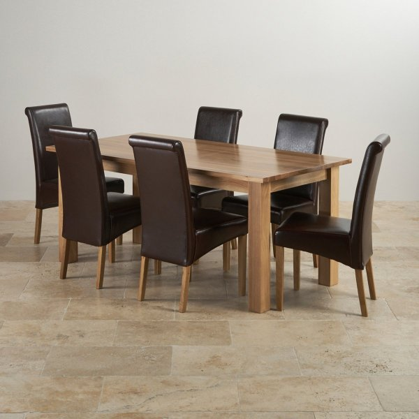 Contemporary Dining Set In Natural Oak - 6ft Table 6 Chairs