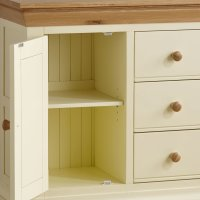 Country Cottage Natural Oak Storage Cabinet - Cream Painted