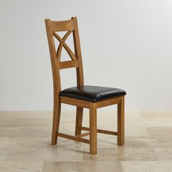 Black Cross Back Dining Chairs Wedge Cushion For Office Chair In Rustic Oak Leather