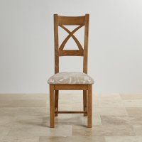Cross Back Dining Chair in Patterned Beige Fabric