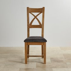 Rustic Dining Chairs Uk Chiavari Chair Cushions Cross Back In Oak Charcoal Fabric Seat