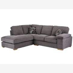 Denver Sofa Cleaning Silver Velvet Set Right Hand Facing Grey Barley Fabric Corner Image 1