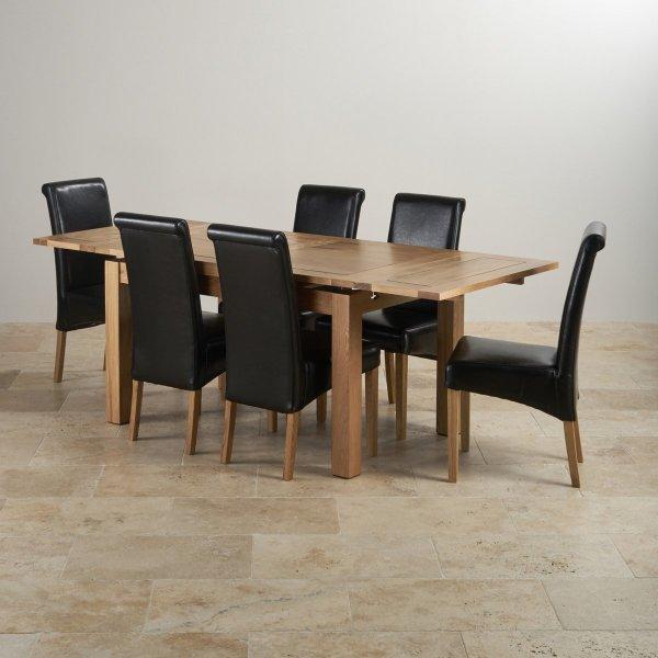 Dorset Extending Dining Set In Oak Table 6 Scroll