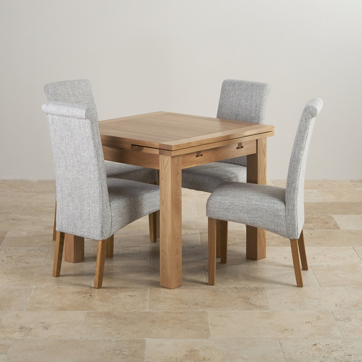 grey fabric oak dining chairs hula chair ellen dorset 3ft table with 4
