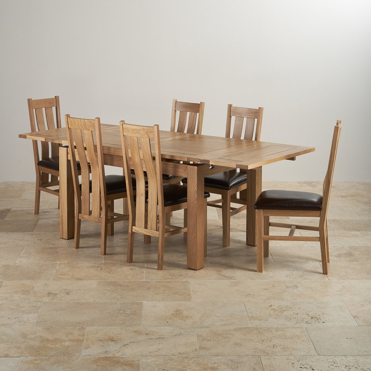 oak dining set 6 chairs plastic coimbatore dorset in extending table 43 leather