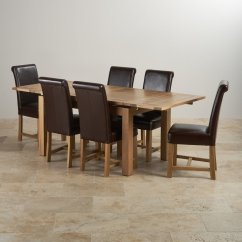 Dining Table With Leather Chairs Chair Leg Covers Dorset Extending Set In Oak 43 6