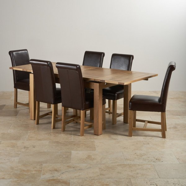 Dorset Extending Dining Set In Oak Table 6 Leather Chairs