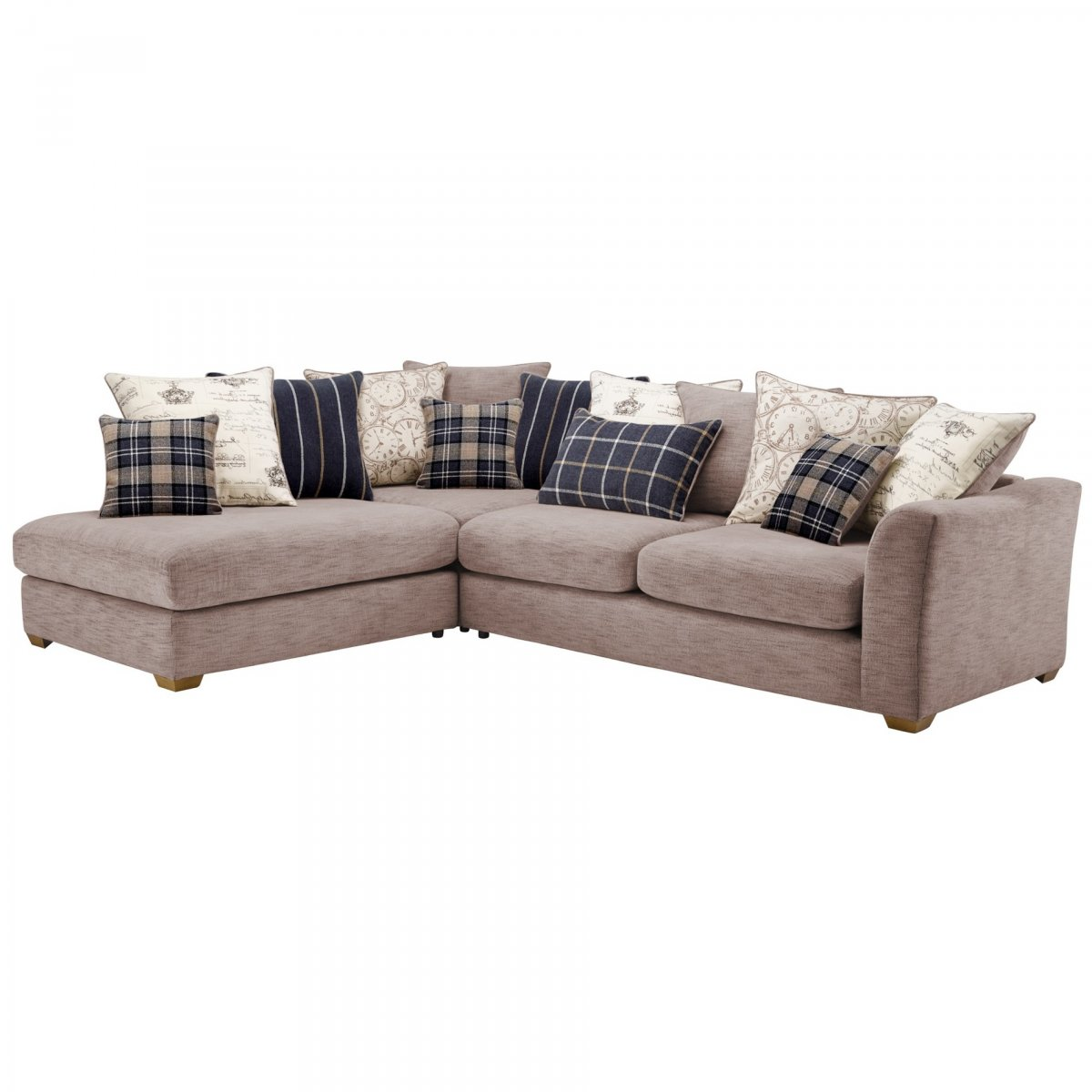 Florence Right Hand Corner Sofa with Pillow Back in Silver