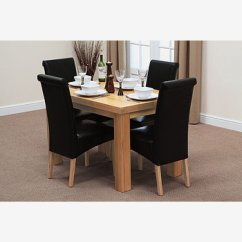 2 X 4 Dining Chairs Contour Chair Lounge Fresco 4ft Solid Oak Table 43 Black Leather