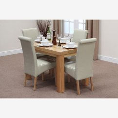 2 X 4 Dining Chairs Desk Chair Singapore Fresco 4ft Solid Oak Table Cream Leather Scroll