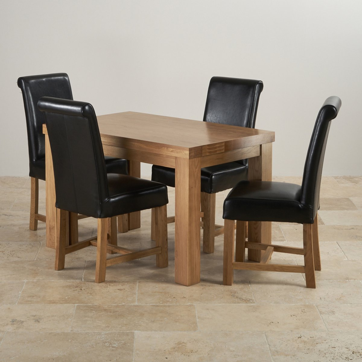dining table with leather chairs slipper chair canada fresco 4ft solid oak 4 black braced