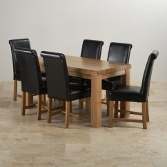 Oak Dining Set 6 Chairs Wheelchair Yang Bagus Fresco 5ft Table 43 Black Leather