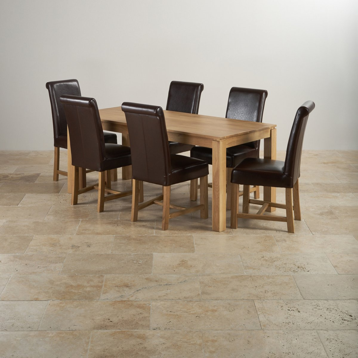 oak dining set 6 chairs ekornes for sale galway in 6ft table 43 brown leather