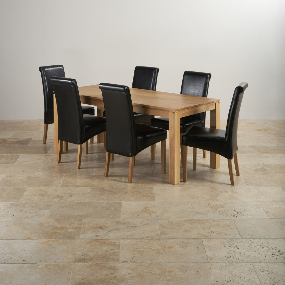 black dining sets with 6 chairs chicago bears chair galway set in natural oak table 43 leather