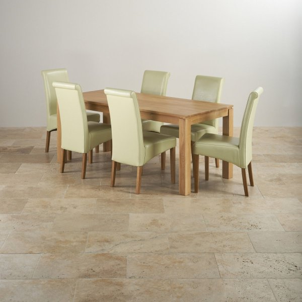 Galway Dining Set In Oak - 6ft Table 6 Cream Leather Chairs
