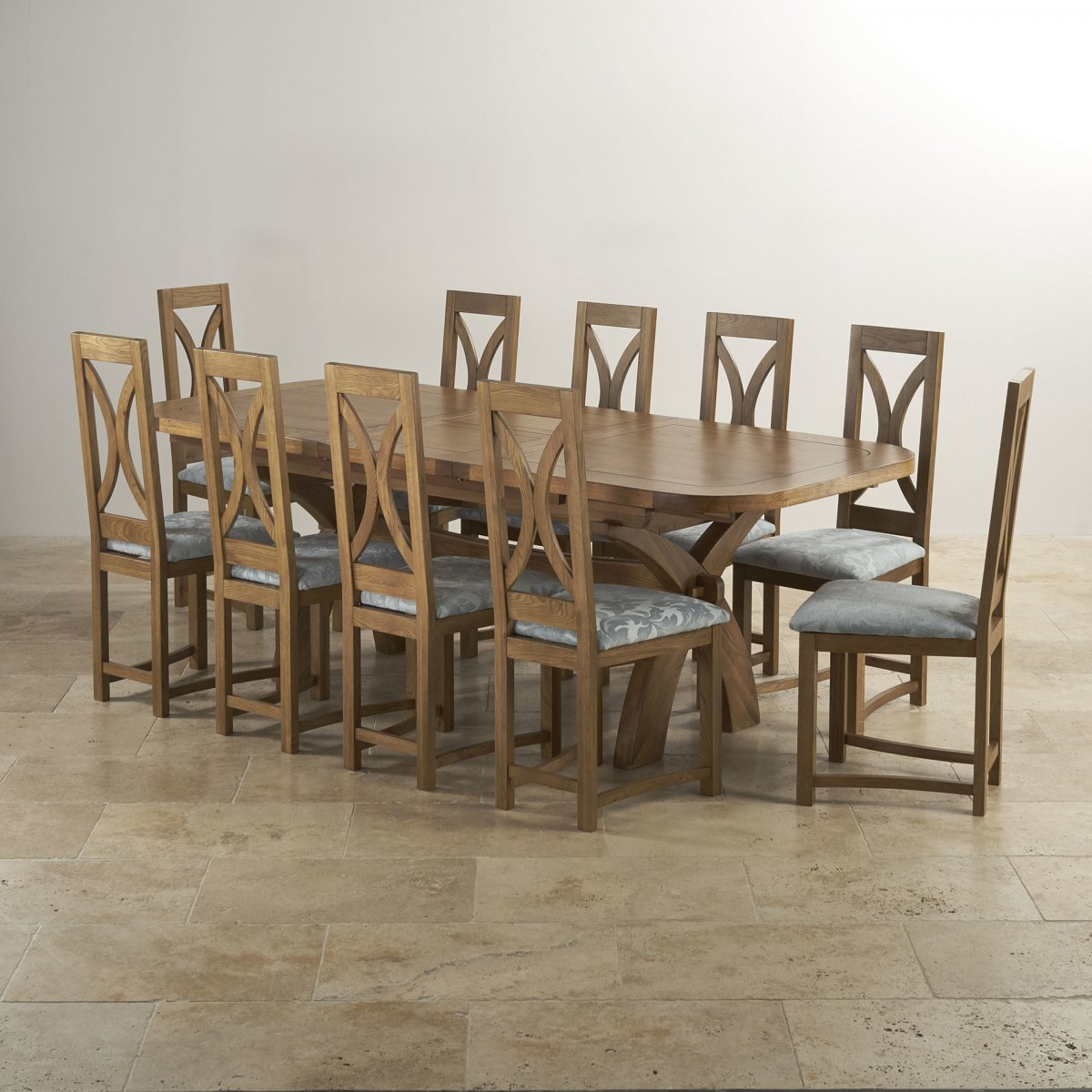 10 chair dining table set round folding lawn chairs hercules rustic oak loop back