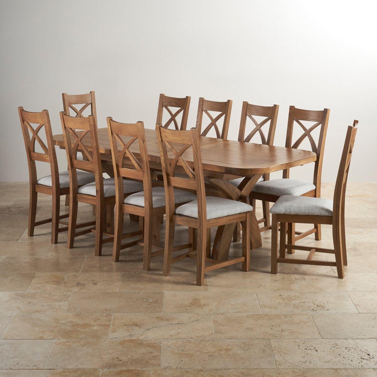10 chair dining table set steelcase gesture hercules in rustic oak extending 43