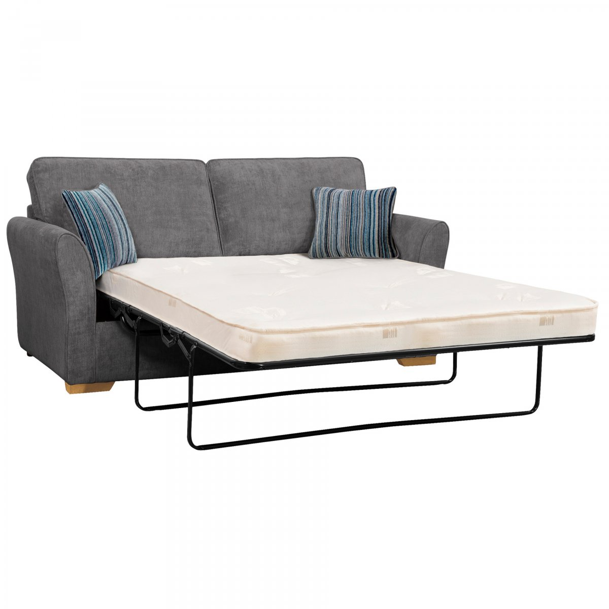 pewter sofa bed corner chaise end jasmine 3 seater with deluxe mattress in