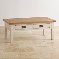 Kemble 4 Drawer Painted Coffee Table in Rustic Solid Oak
