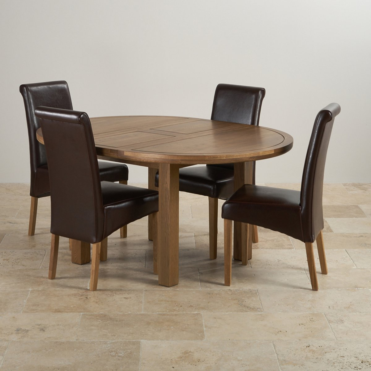 round oak table and 6 chairs chair cover rental barrie knightsbridge extending dining set 43 4