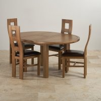 Knightsbridge Round Extending Dining Table + 4 Leather Chairs