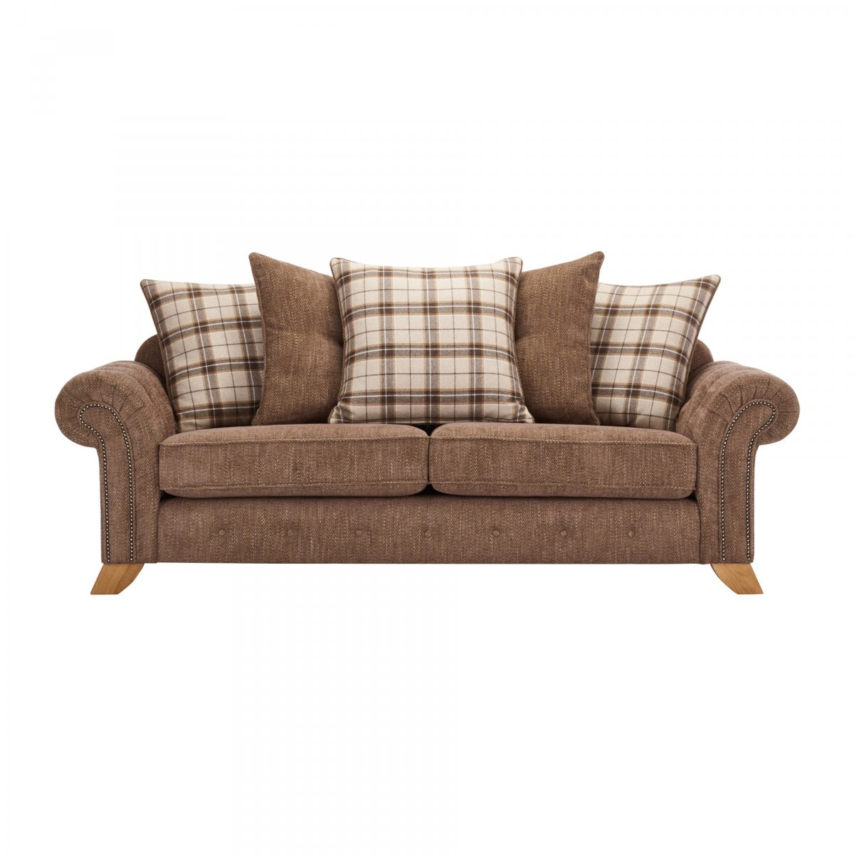 Montana 3 Seater Pillow Back Sofa in Brown  Tartan Cushions