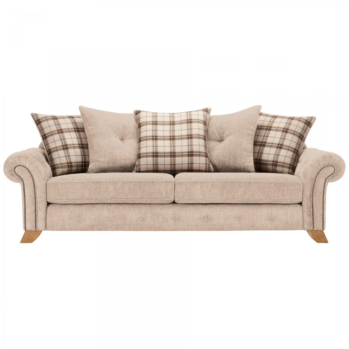 Montana 4 Seater Pillow Back Sofa in Beige  Tartan Cushions