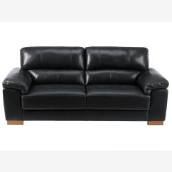 3 Seater Sofa Black Leather Plush Bed Sale Monza In Oak Furniture Land Image 1 Express Delivery