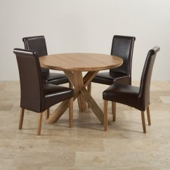 Dining Table With Leather Chairs Stretch Chair Covers Natural Real Oak Set Round 43 4 Brown