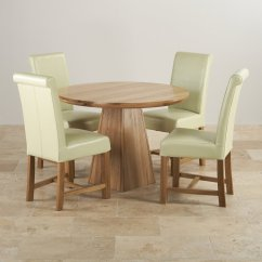 Round Oak Table And 6 Chairs Original Yankee Stadium Provence Dining Set In Real 43 4 Leather Cream