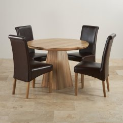 Round Table With Chairs Kidkraft Desk And Chair Set Provence Solid Oak 3ft 7 Quot Dining 4 Brown