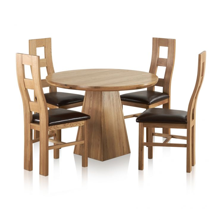 oak kitchen table ovens provence natural solid dining set 3ft 7 round with 4 wave back and brown leather chairs