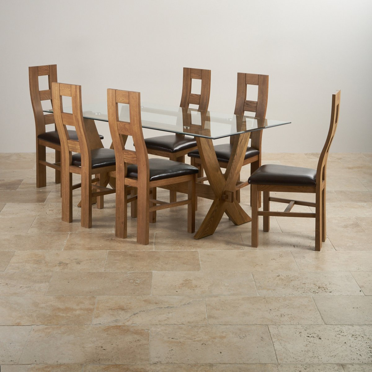 rustic dining chairs uk chair swivel base reflection table in oak 43 6 brown leather