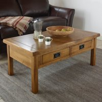 Original Rustic 4 Drawer Coffee Table in Solid Oak
