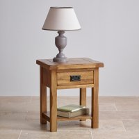 Original Rustic Lamp Table in Solid Oak | Oak Furniture Land