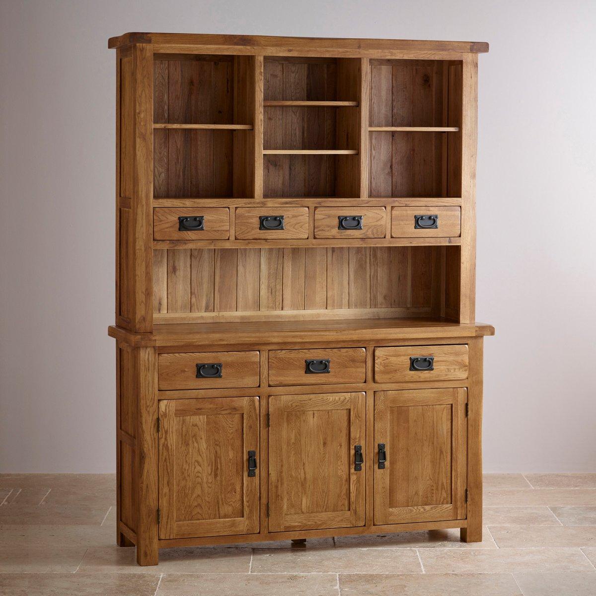Original Rustic Large Dresser in Solid Oak  Oak Furniture