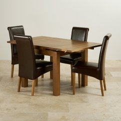 Rustic Dining Table And Chairs Pod Hanging Chair Oak Extending Set 3ft 43 4 Leather