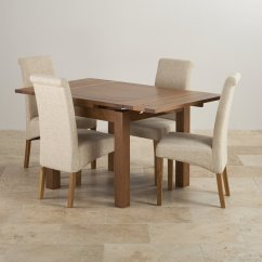 Rustic Dining Chairs Uk 2 Chair Patio Set Extending Table In Oak With 4 Beige Fabric