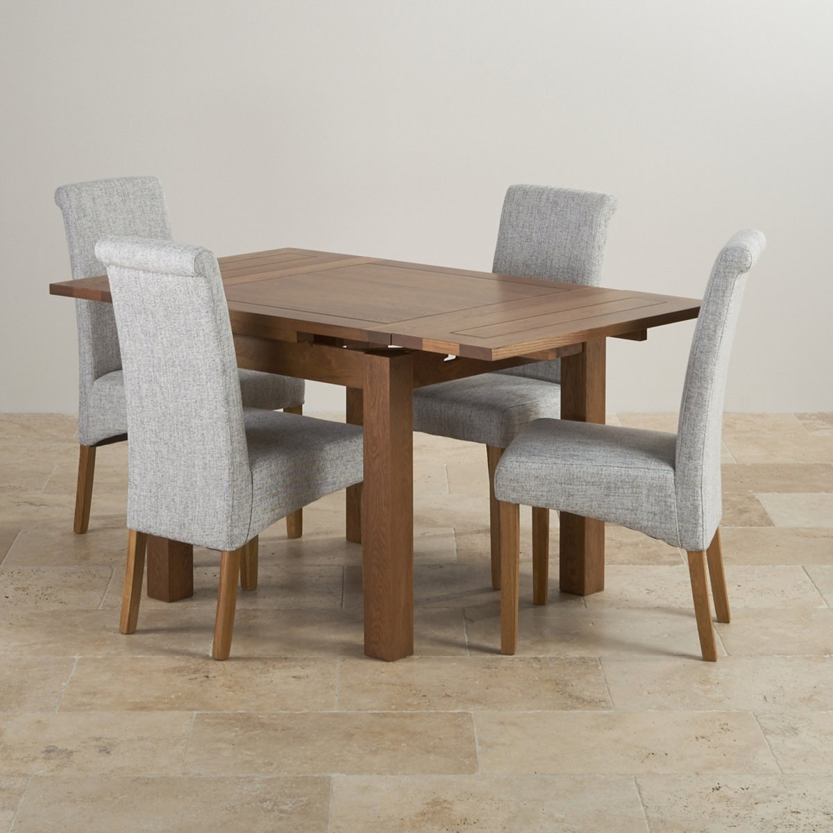 grey fabric oak dining chairs how to recover leather rustic 3ft table with 4