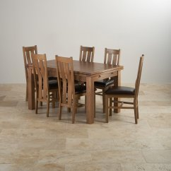 Oak Dining Set 6 Chairs Chair Louis Xvi Rustic Extending Table 43 Arched Back Leather