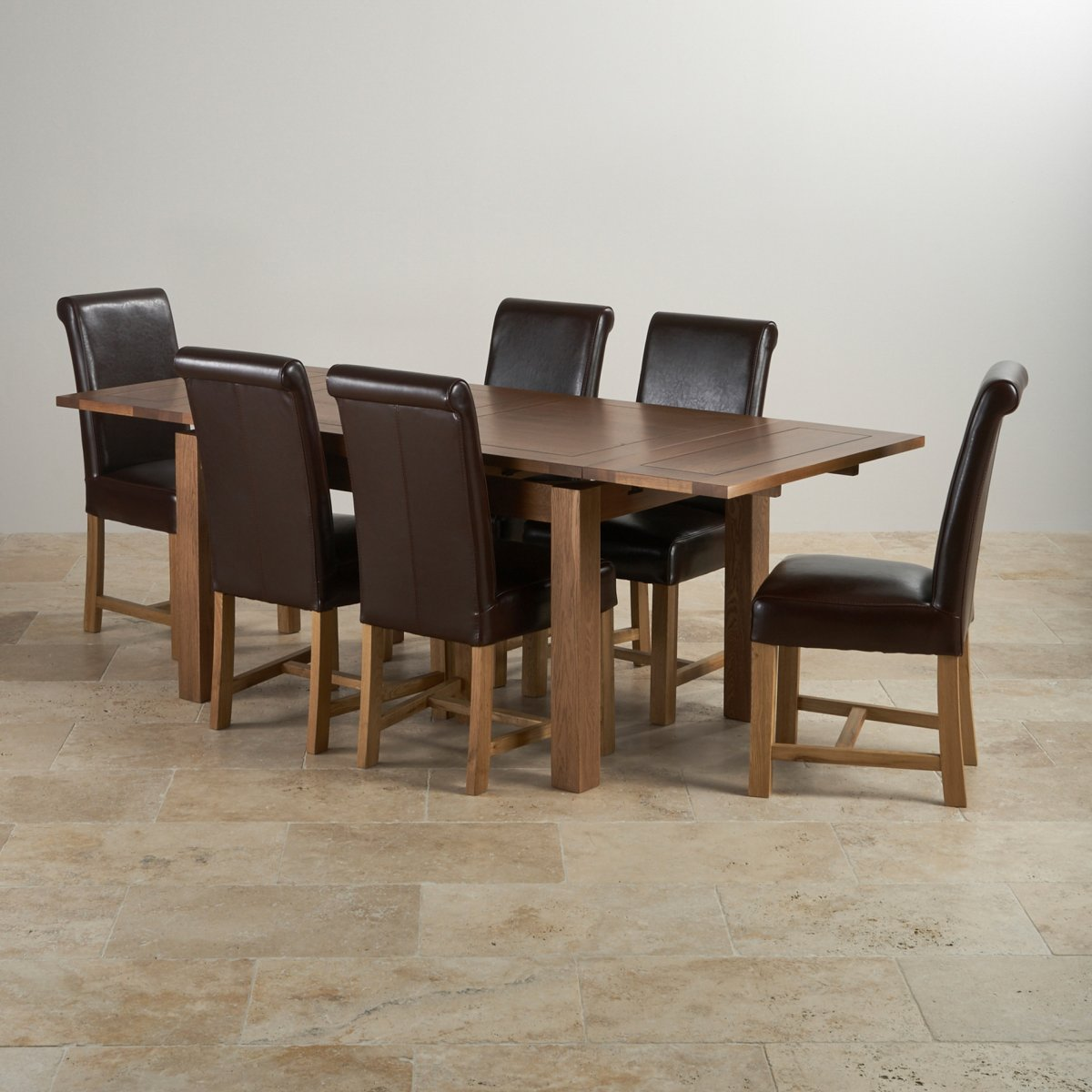 oak dining set 6 chairs chaise for living room rustic extending 4ft 7 quot table 43 leather
