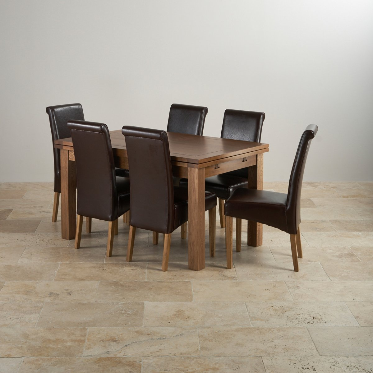rustic dining chairs uk table and for american girl dolls oak set 4ft 7 quot extending with 6 brown