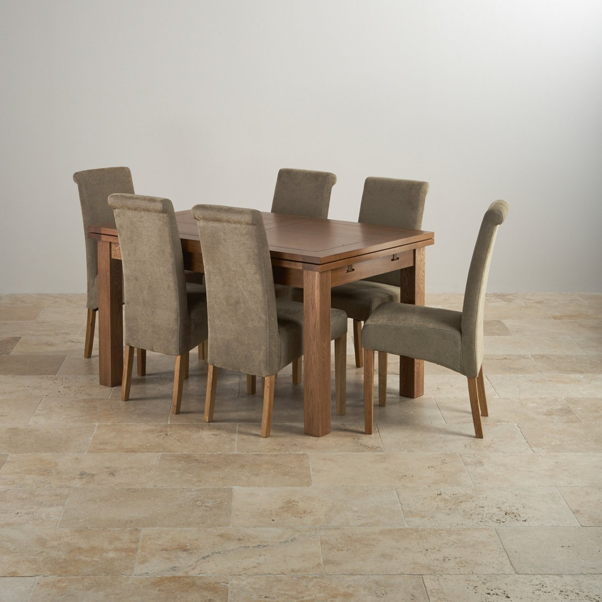 oak dining set 6 chairs vanity chair with back and arms rustic 4ft 7 quot table sage