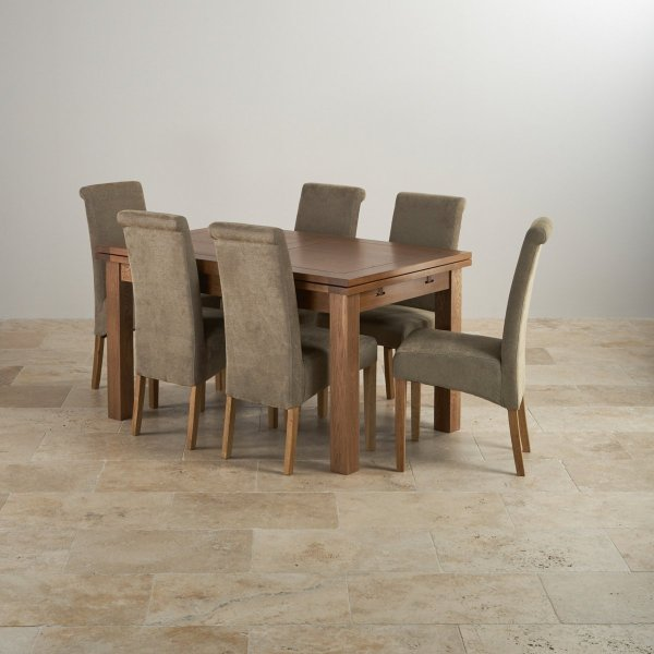 """Rustic Oak 4ft 7"""" Dining Table With 6 Sage Chairs"""